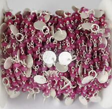 10 Feet Aventurine Ruby Gemstone Faceted Beaded Chain 925 Silver Plated 3.5-4mm