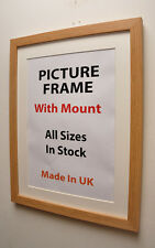 Thin Oak Picture Frame with Mount,Choice of Ivory,Black or White Mount