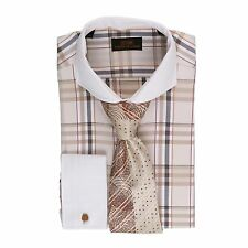 Dress Shirt Steven Land  Cutaway Collar French Cuffs-TanBrown-DS1568-TA