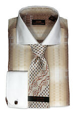 Dress Shirt by Steven Land Spread Collar Rounded French Cuff-Brown-DW1643-BR