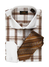 Dress Shirt by Steven Land Spread Collar  Single Link Cuffs-Brown/White-DW500-BR