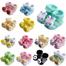Cute Cartoon Infant Baby Girl Boy Anti-slip Socks Slipper Shoes Boots 0-6 Months
