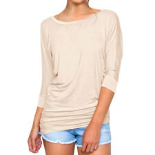 Women Dolman Sleeves Round Neck Ruffled Cuffs Loose Tunic Top