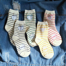 Molang korea Charater Fashion Women Casual Cute color Socks - stripe