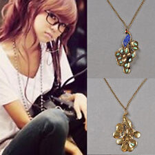 1pcs Long Chain Necklace Women Lady Retro Style Rhinestone Hot Peacock Pendant
