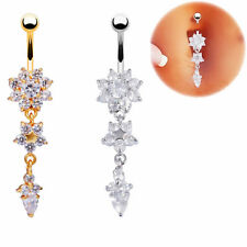 Hot Sale Sexy Girl Body Piercing Jewelry Belly Button Ring Crystal Navel Jewelry