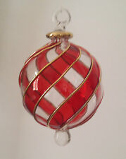 Egyptian mouth blown hand painted pyrex glass gold trimmed Christmas ornament