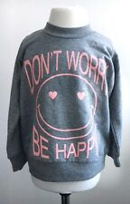 Grey and Pink Girls Don't Worry Be Happy Tracksuit 2 Piece. FREE UK shipping