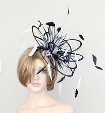 Black & White Fascinator hat/choose any colour satin/ feathers