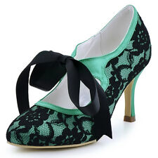 A3039 Teal Closed Toe Mary-Jane High Heel Strap Lace Prom Party Evevning Shoes