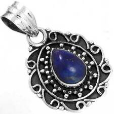 Natural Lapis Gemstone Designer Jewelry 925 Sterling Silver Pendant EX54177