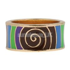 Unique Ethnic Bright Color Whirl Geometric Enamel Finger Ring Band 17/18 mm