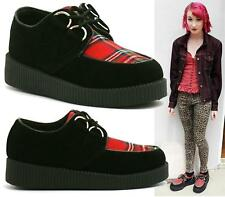LADIES GIRLS FLAT CHUNKY PLATFORM WEDGE LACE UP CREEPERS PUNK GOTH SHOES BOOTS