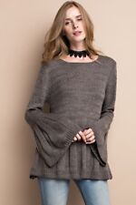 Easy to Please Knit Sweater Top Boho Bell Sleeves- Easel - Ash
