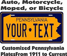 Pennsylvania License Plate Personalized Custom Car Bicycle Bike Moped Motorcycle