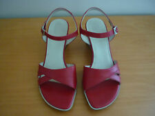 SHAPE BY ECCO RED LEATHER OPEN TOE ANKLE STRAP WEDGE HEEL SANDALS SHOES - SIZE 5