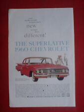 1960 glossy advert, the chevrolet car,measures 10x6.5 inches