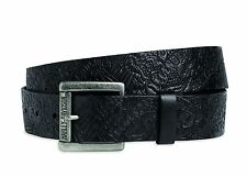 97619-16VM harley davidson allover embossed black leather belt detachable buckle