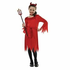 Girls Lil Red Devil Halloween Fancy Dress Costume Childrens Kids Outfit 4-6 8-10