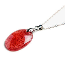 Natural Ice Red Strawberry Quartz Crystal Woman Pendant 23x17x6mm AAAA