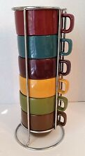 World Market Stacking Coffee Mugs Colored Stoneware With Metal Rack Set 6