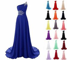 One Shoulder Long Formal Prom Cocktail Party Ball Gown Evening Bridesmaid Dress