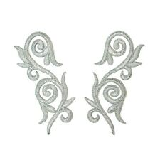 Silver Iron On Embroidered Applique Pair #38 Aust Seller Tutu Costume Trim