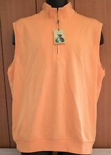 NWT Mens Donald Ross Golf sleeveless 1/4 zip Vest pull over Size M/ L Cantaloupe