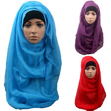 Women Cotton Muslim Islamic Ramadan Hijab Long Scarf Shawl Wrap Headwear Sweet