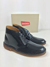 BNIB LADIES CLARKS ORIGINALS DESERT BOOTS PETROL PATENT GREY LEATHER WOMENS