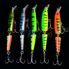 Multi-jointed Minnow Fishing Lures Swimbait Bass Poppers Tackle Hook Lot 5pcs