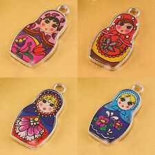 5Pcs Two-Sided Cartoon Girl Pattern Charm Enamel Russian Doll Charms Pendants