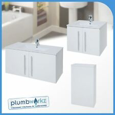 Wall Mounted Bathroom Vanity Unit Cabinet Doors Wash Basin Sink Wall Hung