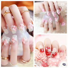 24pcs Fashion 3D Bride Wedding False Artificial Fake Nails Tips French GS