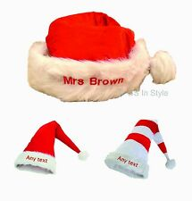 PERSONALISED LUXURY QUALITY SANTA HAT CHRISTMAS XMAS GIFT NAME EMBROIDERED