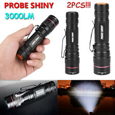 2pcs 3000lm Zoomable CREE XM-L Q5 LED Flashlight Torches 18650 Super Lights Lot
