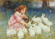 Oil Painting repro Frederick Morgan Feeding the Rabbits