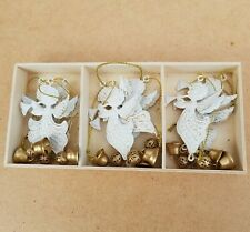 Box of 10 Gisela Graham Cream Tin Christmas Tree Decorations Angels Star Bells