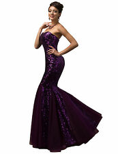 Crystal Evening Party Dress Wedding Sequins Mermaid Bridesmaids Cocktail Long