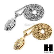 """MENS HIP HOP ICED OUT HAND GRENADE CZ PENDANT 24"""" ROPE CHAIN NECKLACE N027"""