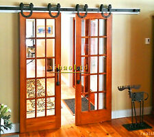 6-16FT Horseshoe Sliding Wood Barn Door Hardware Closet Rustic Sliding Track Kit