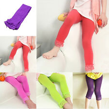 4-10Y Baby Kids Girls Skinny Pants Lace Solid Warm Stretchy Leggings Trousers a2