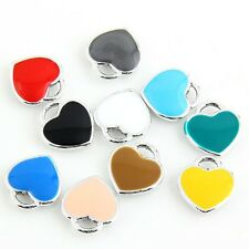 10pcs Silver Heart Shape Beads Charms Enamel Pendant Fit DIY Bracelet Findings