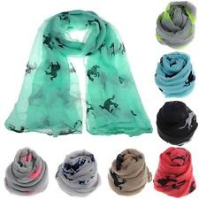 Fashion Women Scarf Shawl Warm Wrap Stole Voile Gift Running Horse Print Scarf