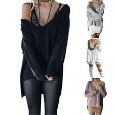 Sexy Ladies Deep V-neck Knitted Sweater Loose Jumper Slouchy Irregular Pullover