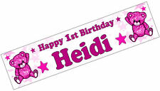 PERSONALISED BANNER NAME AGE PHOTO BIRTHDAY PARTY teddy pink baby 1st 2nd 3rd D2