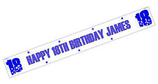 PERSONALISED BANNERS NAME AGE PHOTO BIRTHDAY 50th 60th 70th 80th 90th blue E1