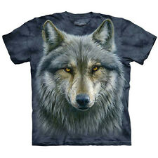 WARRIOR WOLF T-Shirt The Mountain Big Face Gray Wolves Head Graphic S-5XL NEW!
