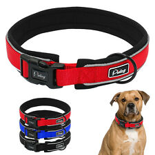 Reflective Nylon Padded Dog Collars Soft For Small Large Dog Red Black Blue S-XL