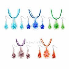Drop Flower Lampwork Glass Murano Bead Pendant Ribbon Necklace Cord Earrings Set